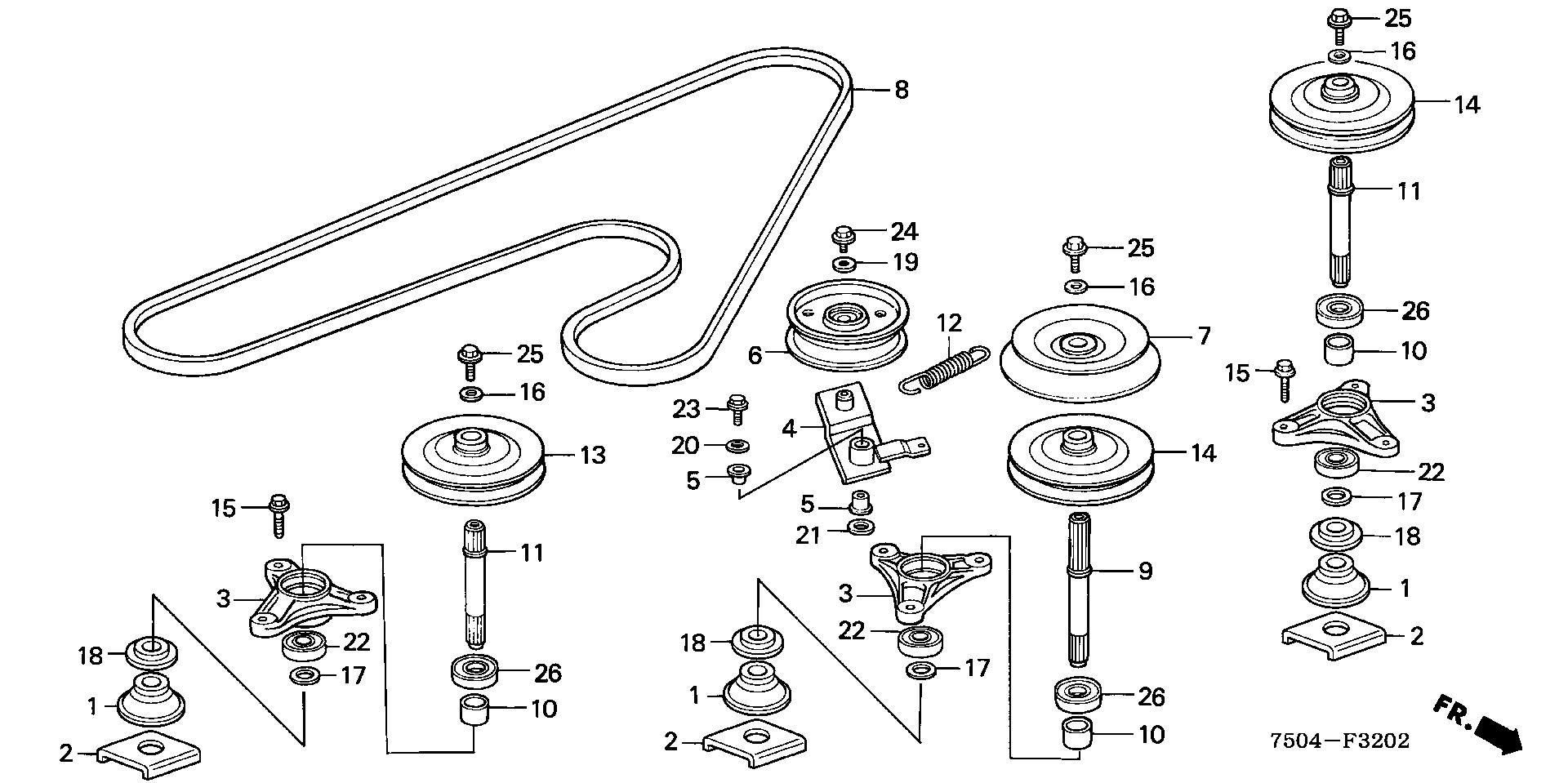 BLADE SHAFT@DRIVEN PULLEY (HT4213)