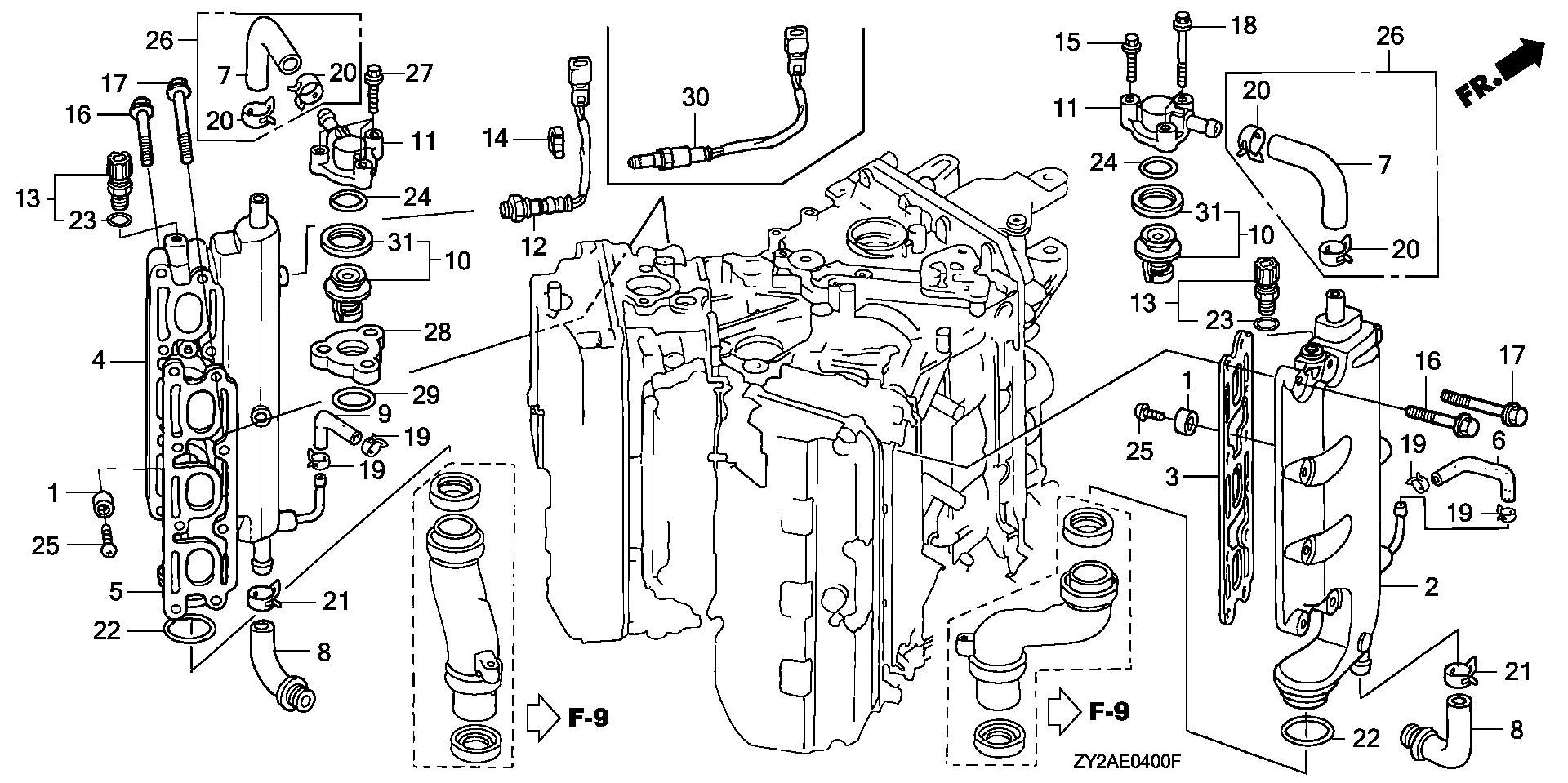 EXHAUST MANIFOLD         @THERMOSTAT